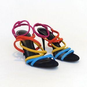 Zara Rainbow Suede Sandal | size 41